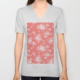 Vintage elegant coral white bohemian floral Unisex V-Neck
