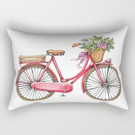 Cute watercolor vintage bike print. Rectangular Pillow
