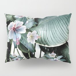 Banana leaf tropical paradise, leaves, hibiscus, Hawaii Pillow Sham