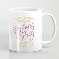 pocketfuel Mugs featuring PRAYER OVER WORRY by Pocket Fuel