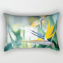 Bird of Paradise Photography, Green Orange Aqua Blue, Tropical Flower Nature Botanical Rectangular Pillow
