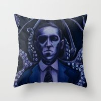 lovecraft Throw Pillows featuring Lovecraft by Mrtn Ljmn