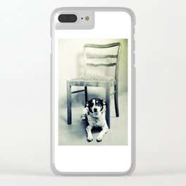 Dog under the old chair Clear iPhone Case