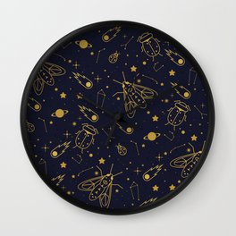 Golden Celestial Bugs Wall Clock