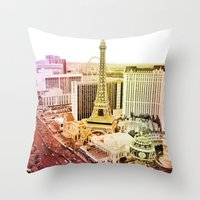 las vegas Throw Pillows featuring Las Vegas by EmilyBest