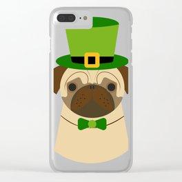 Kiss Me I'm Irish Saint Patrick's Day Pug Coffee Mug Clear iPhone Case