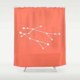 Gemini Zodiac Constellation - Coral Red Shower Curtain