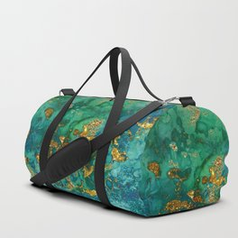 Malachite and Gold Glitter Stone Ink Abstract Gem Glamour Marble Duffle Bag