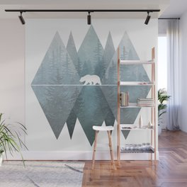 Misty Forest Mountain Bear Wall Mural