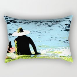 Day at the beach with Dad Rectangular Pillow