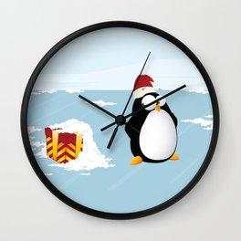 Suspicious penguin Wall Clock