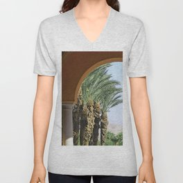 Classic Desert Oasis Archway To Exotic Palm Trees Unisex V-Neck