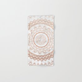 Mandala - rose gold and white marble Hand & Bath Towel