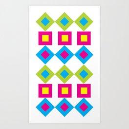 Colorful Nested Diamonds & Squares Art Print
