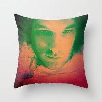 apollo Throw Pillows featuring Apollo incarnate by Angela Pesic