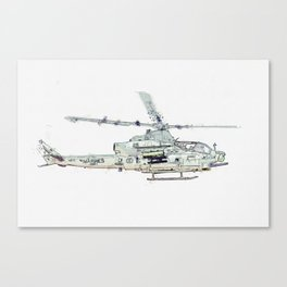 VMX-1 Griffins AH-1Z Viper watercolor by Ahmet Asar Canvas Print