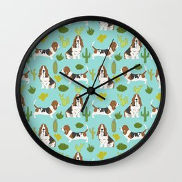 Basset Hound cactus cute mint pet portrait dog art must have gifts for basset hound owners fur baby Wall Clock