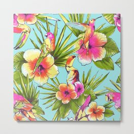 Tropical flowers with parrots Metal Print