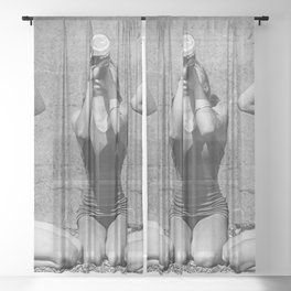 What the girls drink when the guys aren't looking - three girlfriends drinking at the beach black and white photograph Sheer Curtain