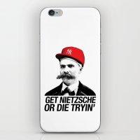 nietzsche iPhone & iPod Skins featuring Get nietzsche or die tryin' by Carlos Paboudjian
