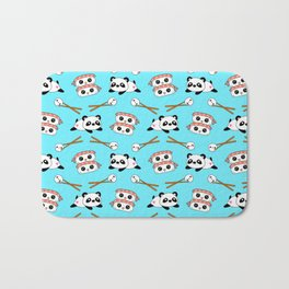 Cute funny Kawaii chibi little playful baby panda bears, happy sweet cheerful sushi with shrimp on top, rice balls and chopsticks light pastel blue pattern design. Nursery decor. Bath Mat