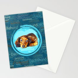 Cute Longhaired Dachshund Puppy Stationery Cards