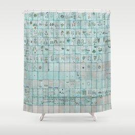 The Complete Voynich Manuscript - Blue Tint Shower Curtain