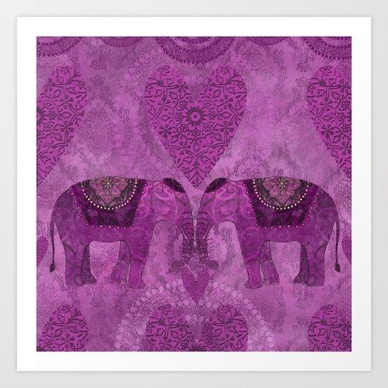 Elephants in Love pink heart artwork Art Print