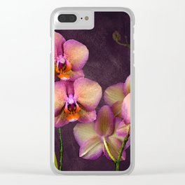 Sunrise Tropical Orchids Clear iPhone Case