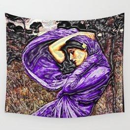 Boreas 1903 surreal portrait by John William Waterhouse in purple decor Wall Tapestry