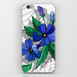 Beautiful abstract flowers in blue colors iPhone Skin