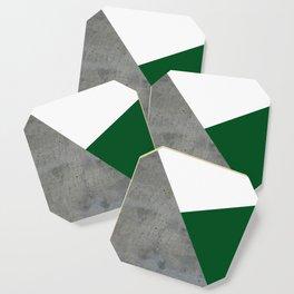 Concrete Festive Green White Coaster