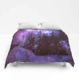 Galaxy Winter Forest Purple Comforters