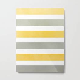 Yellow and Gray Wide Stripes Pattern Metal Print