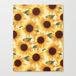 Happy Yellow Sunflowers Canvas Print