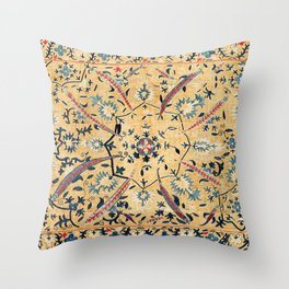 Kermina  Suzani  Antique Uzbekistan Embroidery Print Throw Pillow