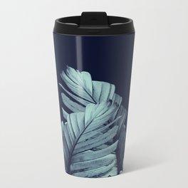 Navy Blue Banana Leaves Dream #1 #tropical #decor #art #society6 Metal Travel Mug
