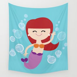 Little Redhead Mermaid Wall Tapestry