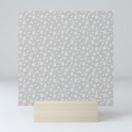 Festive Silver Grey and White Christmas Holiday Snowflakes Mini Art Print