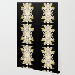 Cherry Flowers On Black Background #decor #society6 #buyart Wallpaper
