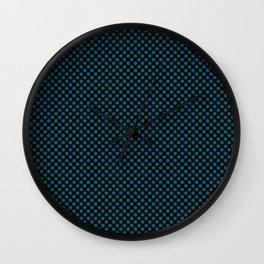 Black and Ocean Depths Polka Dots Wall Clock