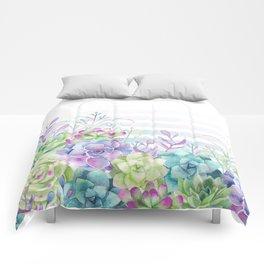 Summer Succulents Comforters