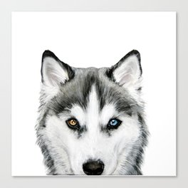 Siberian Husky dog with two eye color Dog illustration original painting print Canvas Print