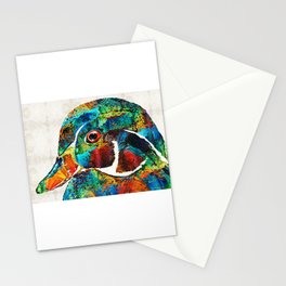 Colorful Wood Duck Art by Sharon Cummings Stationery Cards