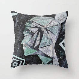Laura - Head in Space Throw Pillow