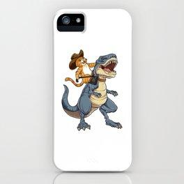 Cat Cowboy Riding T-rex Dinosaur T shirt Funny Purrassic Kitty Kitten Dino Gifts Kids Boys Girls Men iPhone Case
