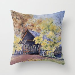 Naperville Covered Bridge in Fall Throw Pillow