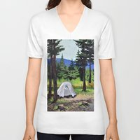 camp V-neck T-shirts featuring Camp by Kira Yustak