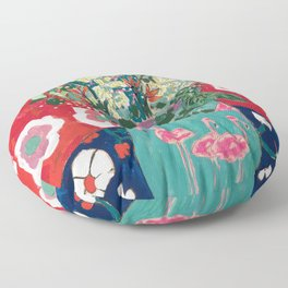 Wild Flowers in Flamingo Vase Floral Painting Floor Pillow