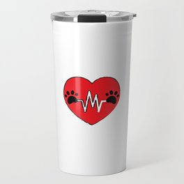 Red Dog Paw Heartbeat Line Dog Lover Heartbeat Travel Mug
